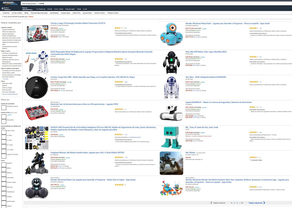 """Resultados en Amazon.es al buscar """"robots"""""""